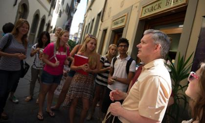 President Alger and JMU students on the streets of Florence