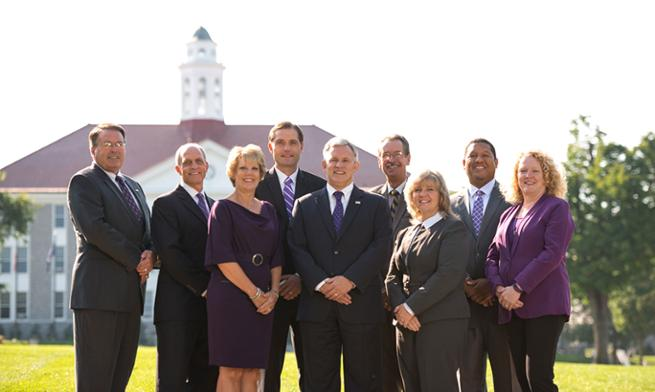 JMU's Senior Leadership stood on the Quadrangle
