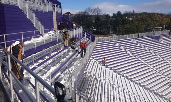 Snow cleanup of Bridgeforth Stadium