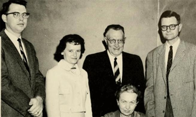 Yearbook image of Professor Paul Cline, far left, with other faculty