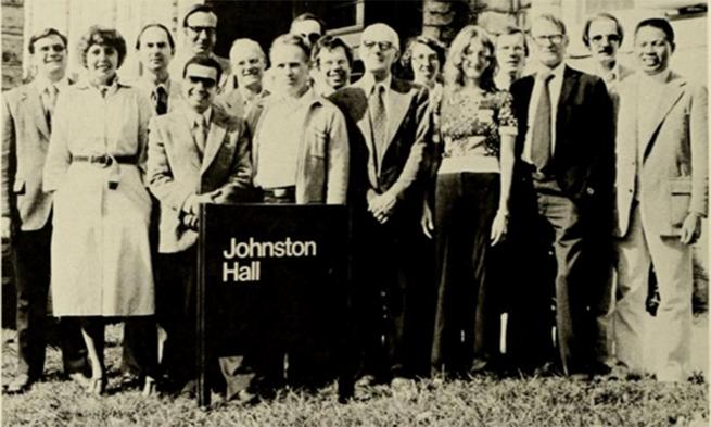 Professor Eileen Nelson with other faculty outside Johnston Hall