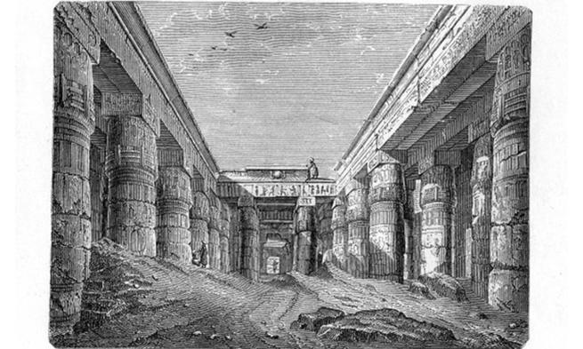 Engraving of Egyptian Art Temple