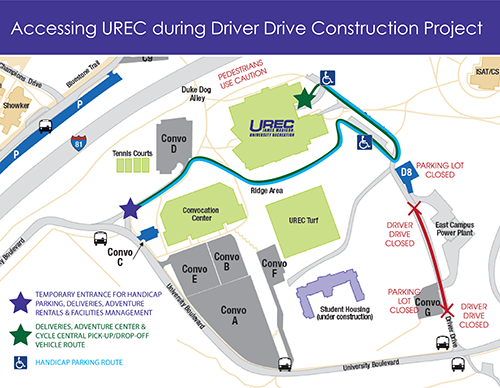 UREC Parking Access Map May 2019