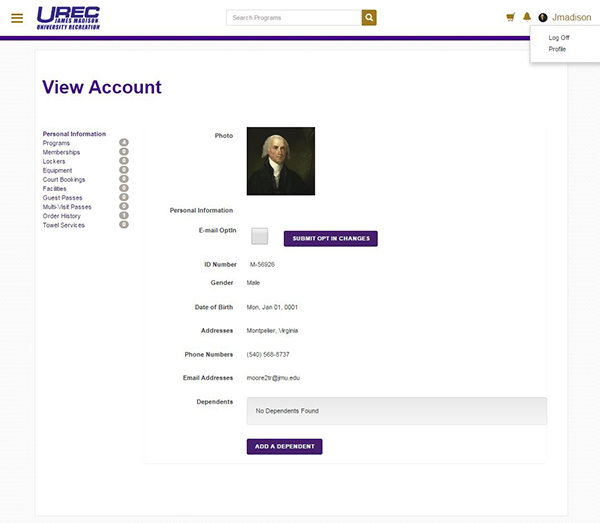 Account Screen