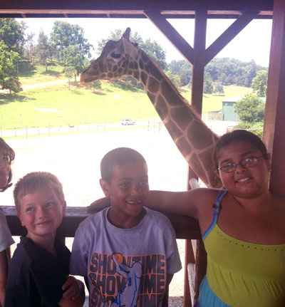 Three Campers with Giraffe