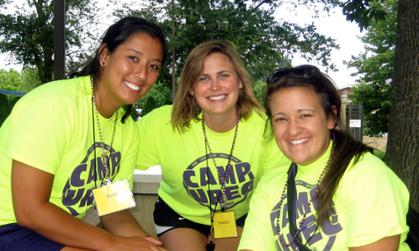 Heather Gately (center) as a Camp Counselor