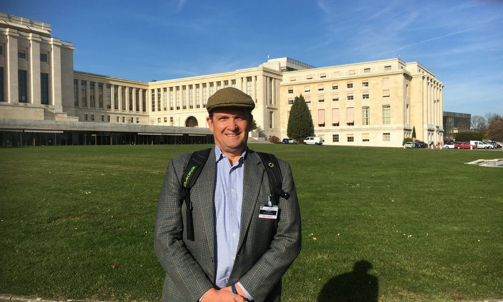 CISR Director Dr. Ken Rutherford at the Palace of Nations in Geneva