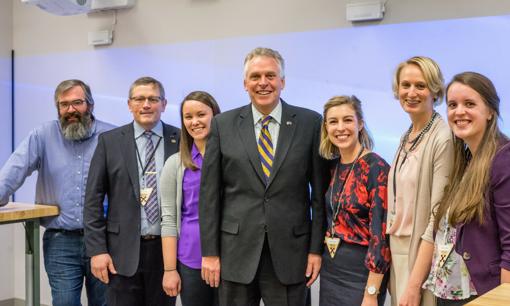 Governor McAuliffe visits the JMU 4-VA staff at JMU X-labs before delivering the keynote address at the Virginia Robotics & Unmanned Systems Education Summit.
