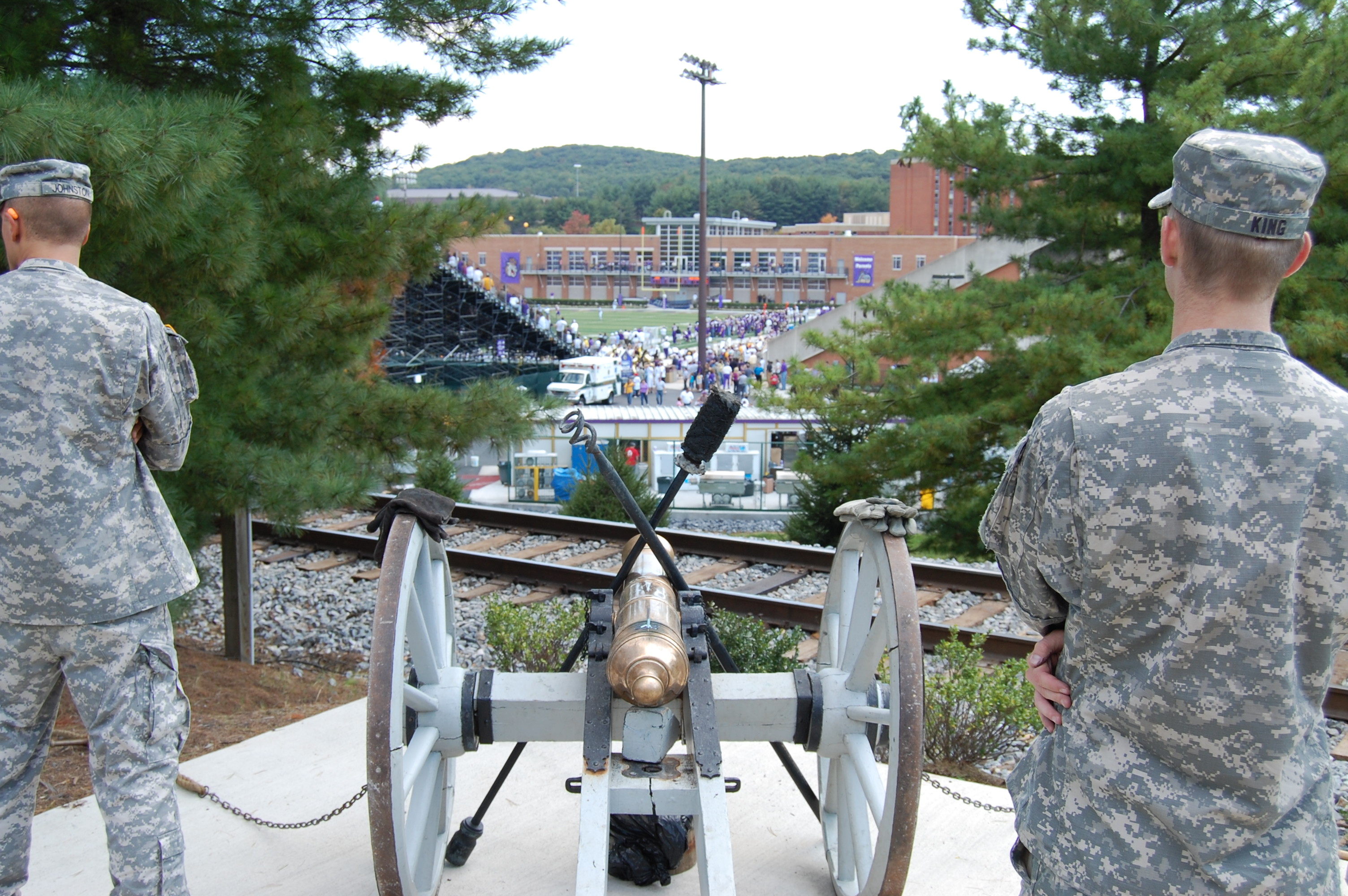 james madison university military science rotc cannon over looking stadium jpg