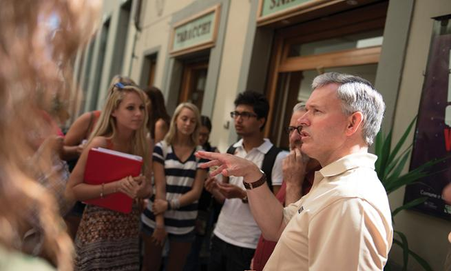 President Alger visits with Study Abroad program participants in Florence, Italy