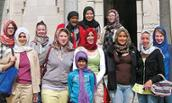 Group from JMU poses at museum focused on Arabic culture