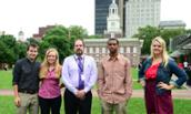 JMU Breeze editors pose with Pulitzer-winning writer Jeff Gammage in Philadelphia