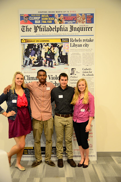 Breeze editors pose for photo at Philadelphia Inquirer