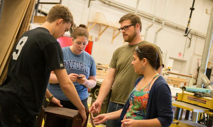 Theater major George Dippold ('14) with other JMU students