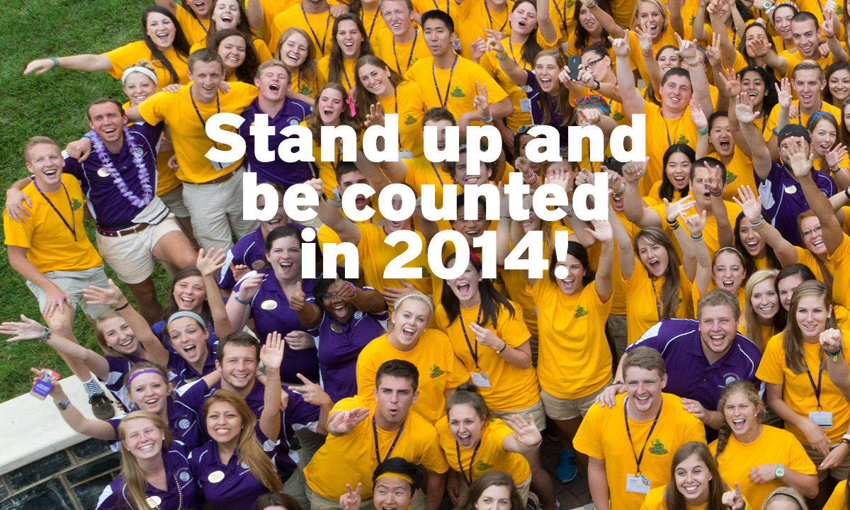 Photo of JMU students with words: Stand up and be counted in 2014!