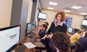 College of Business Dean Mary Gowan in classroom