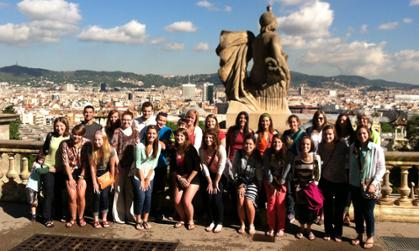 Honors students and faculty visit Montjuic in Barcelona, Spain.