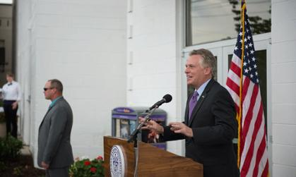 Gov. McAuliffe speaks to crowd at Ice House opening