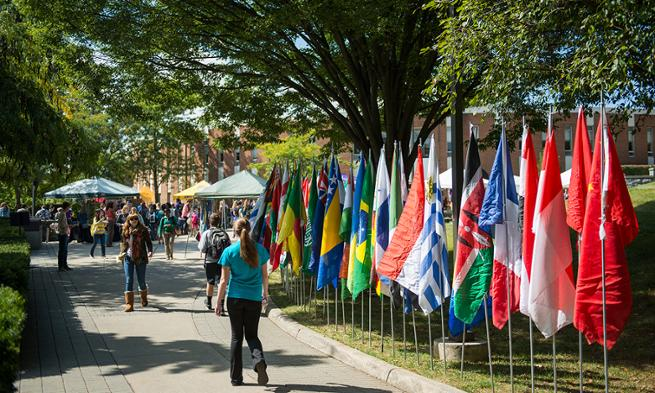 Campus during JMU's annual International Week celebration