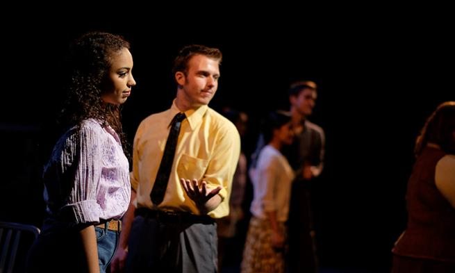 Photo of JMU senior Courtney Jamison and other performers rehearsing for Mainstage performance