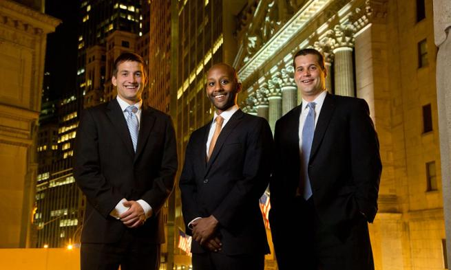 J.P. Kril ('13), Goldman Sachs VP Alpha Kiflu ('05) and Goldman Sachs analyst Justin Quaglia ('11)