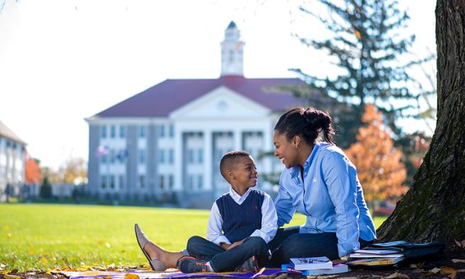 Francesca Leigh-Davis and her son on the JMU Quad