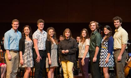 Patti LuPone with students in forbes