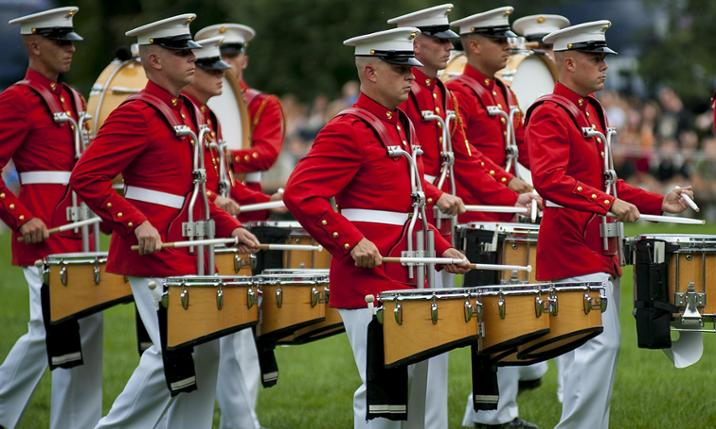 Photo of the U.S. Marine Drum and Bugle Corps