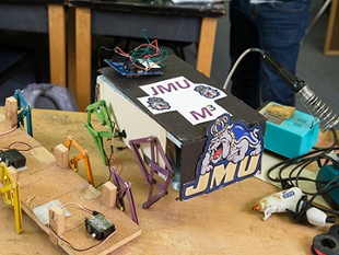 Multi-legged robot built by Lisha White and teammates