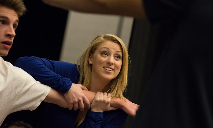 Caitlin McAvoy rehearses for the JMU production of All Shook Up