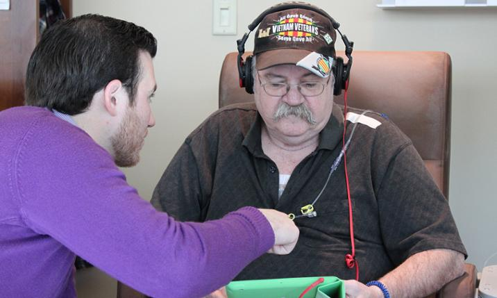 JMU senior Mark Thress and Dick Phillippi, a patient at RMH hospital