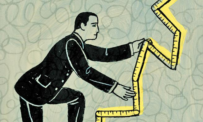 Illustration of man climbing measuring tape