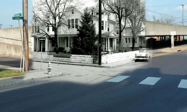 Layered photos of the corner of East Elizabeth and Federal Streets, 1962 and 2013
