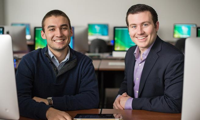 JMU students John Riley and Mark Thress, creators of ipad music therapy program