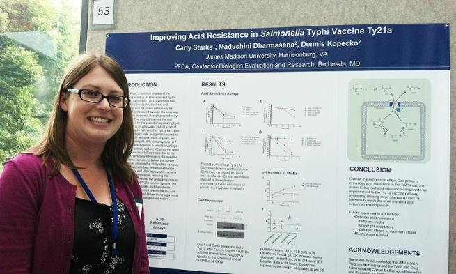 Carly Starke presents her poster at NIH