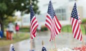 Photo of flags taken during the Student Veteran Association 5K