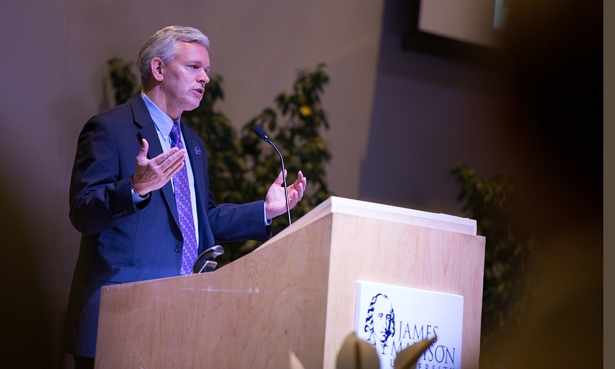 JMU President Jon Alger speaks at War to Peace conference