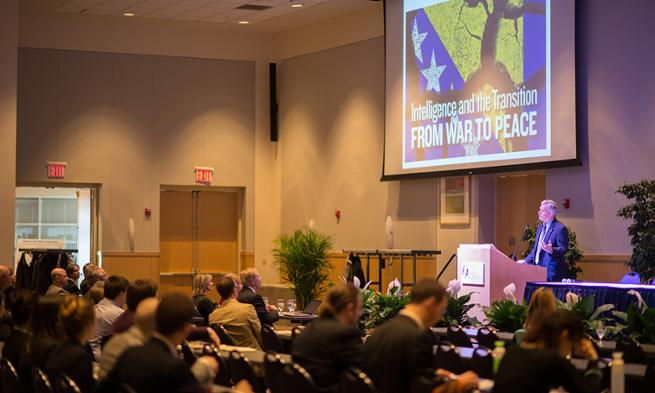 President Alger speaks at War to Peace Conference