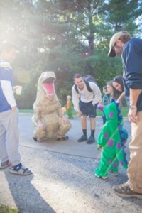 Dinosaurs were a popular costume this Greek Halloween.
