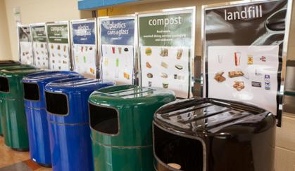 Photograph of bins with labels for recycling, compost, and landfill trash.