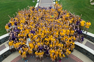 Aerial photo of the Orientation staff