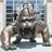 Photo of large bronze statue of JMU mascot Duke Dog