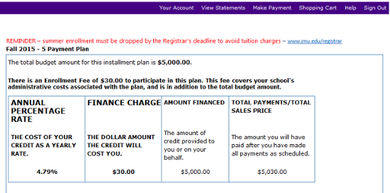 Payment plan breakdown with finance charge information.