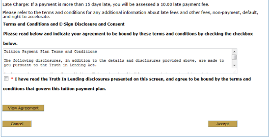 Terms and conditions information for payment plan.