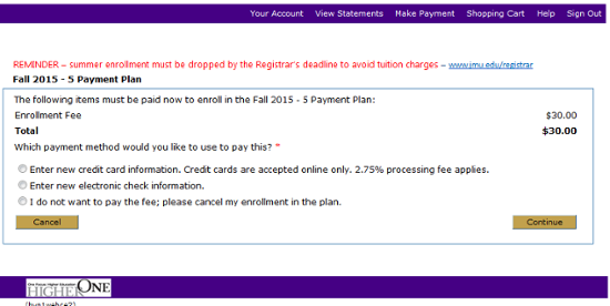 Enrollment fee payment initiation page.