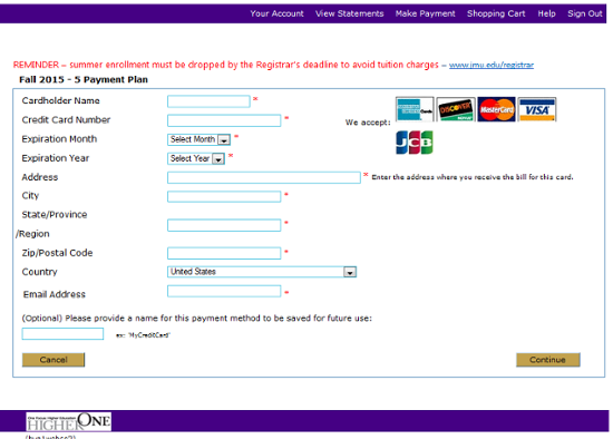 Credit card payment form.