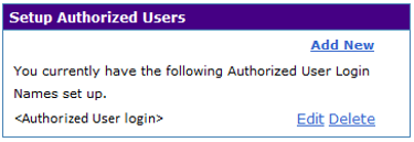 Authorized Users listing