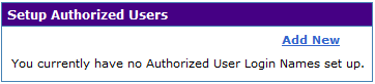 Authorized User box from M3 showing no users set up.