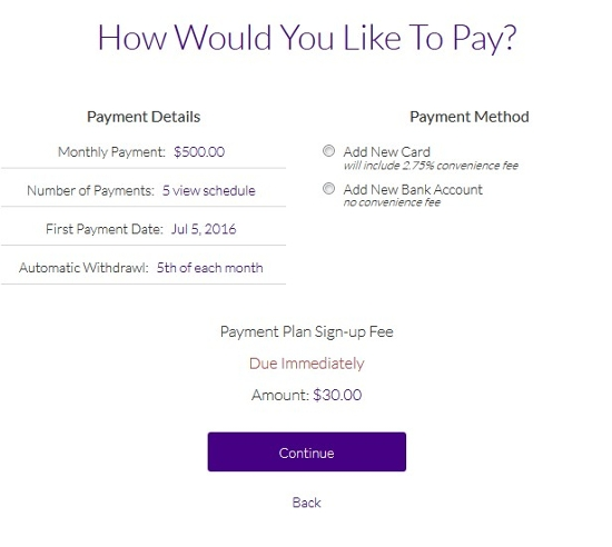 OnPlanU payment type selection page