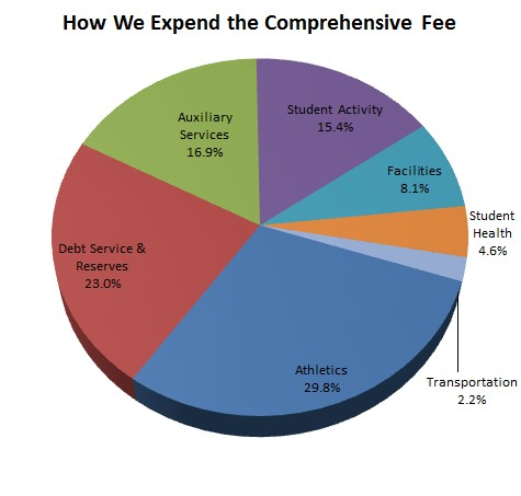 2010-2011 comprehensive fee expenditure pie chart.